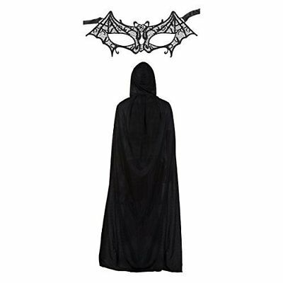 Ladies Lace Batman Batwoman Mask & Cape Fancy Dress Set