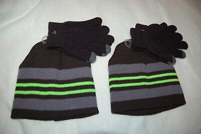 Boys 2 LOT HAT & GLOVES SET Winter Beanie BLACK GRAY NEON GREEN Touch Screen