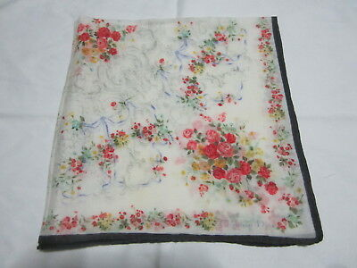"Vintage  White - Red Flora  Pattern Cotton 18"" Handkerchief Hanky For Ladies"