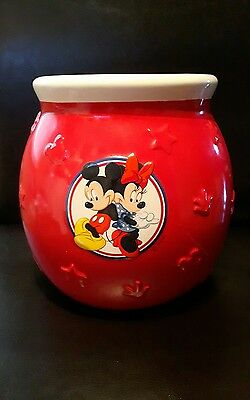 Mickey and Minnie Mouse red ceramic canister art brush holder
