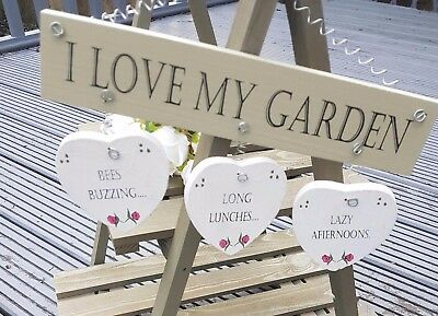 "Shabby Chic ""i Love My Garden"" Sign Plaque Rustic Hearts Flowers Home Decor Gift"