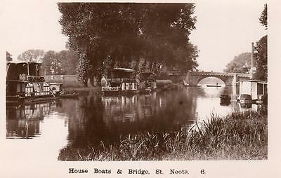 House Boats & Bridge St Neots unused RP pc Lilywhite