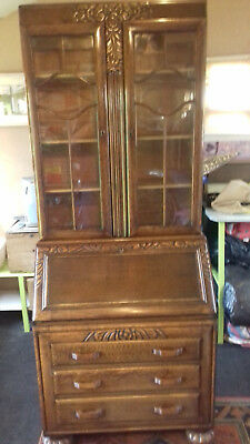 Antique Writing Bureau With Glass Fronted Book Case / Display Cabinet