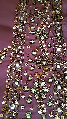 purple wedding saree with antique gold bead flower embroidery.blouse included