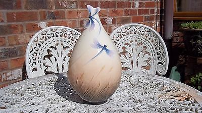 Franz Dragonfly Vase Large Signed & Perfect, Corn Raised Relief Design Stunning