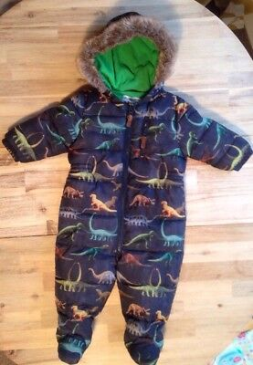 Boys Next Blue Dinosaur Snowsuit. 9-12 Months. Fleece Lined. Winter All In One.