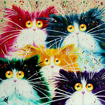 Five Cats DIY Oil Painting On Canvas (no framed)