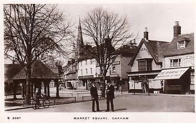 Market Square Oakham RP old pc used 1919 WHS Kingsway S2087