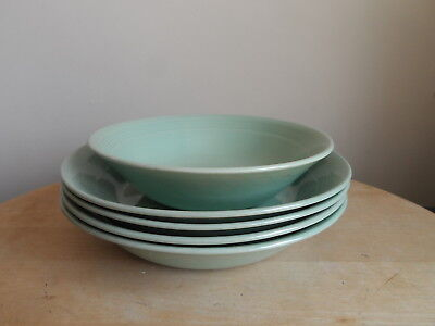 """Woods Ware """"beryl"""" Pattern Green Pudding & Cereal Bowls X5"""