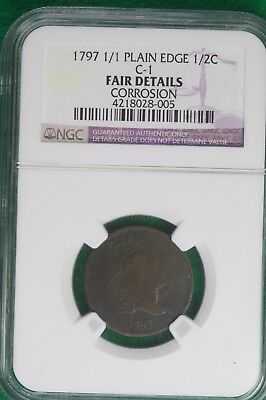 1797 1/1 Plain Edge Liberty Cap Half Cent NGC FAIR DETAILS B10317