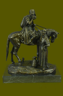 LARGE Vintage/Reproduction Arab Warrior Horse Bronze Sculpture French Hand Made