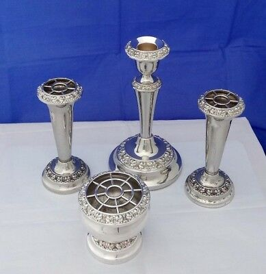 4 Pieces Vintage Ianthe Silver Plate - 2 Bud Vases, 1 Posy Bowl, 1 Candlestick