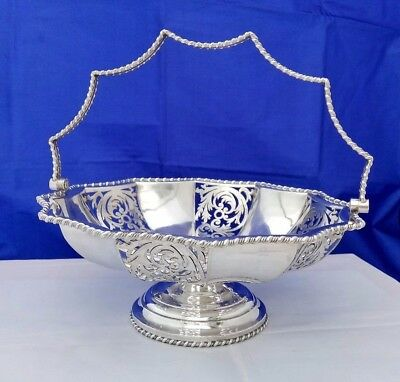 VTG Silver Plate Footed Bowl with Swing Handle & Pierced Work Panels James Dixon
