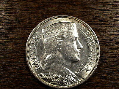 Latvia Old Silver Coin 5 Lats 1929