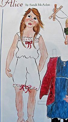 VINTAGE ALICE PAPER DOLL & CLOTHES BY McASLAN + ARTIST ARTICLE - UNCUT - 1994
