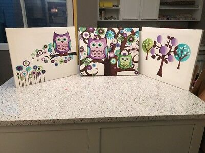 Kids Owl Canvas Prints Set Of 3