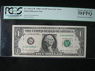 1988A $1 FRN Double Digit Mismatched Serial Numbers on a Star Note