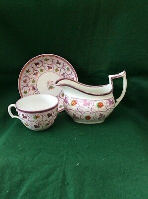 3 pieces of matching antique Staffordshire lustre tea ware