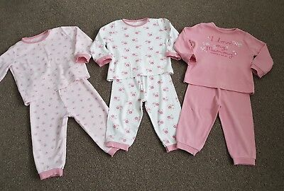 George Baby Girls Three Pairs of Long Floral Pyjamas/Pjs Size 12-18 Months