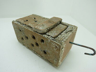 (#2638)  Old Wood Dungeness Crab  Lobster Shrimp Bait Trap Jar Box Crawfish
