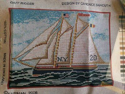 EHRMAN Tapestry Kit Boat Gaff Rigger cushion 15.5 x 11.5 in free post