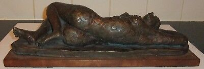 Vintage Bronzed Plaster Reclining Nude Lady Sculpture Signed To Base Art Deco