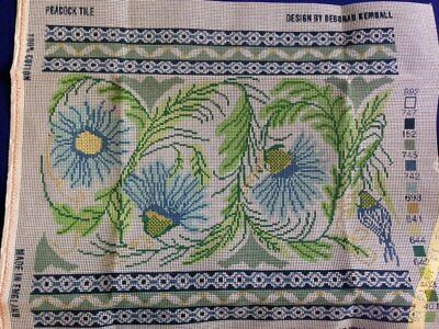 EHRMAN Tapestry Peacock Tile  Cream Blue cushion 16 x 14 in free post
