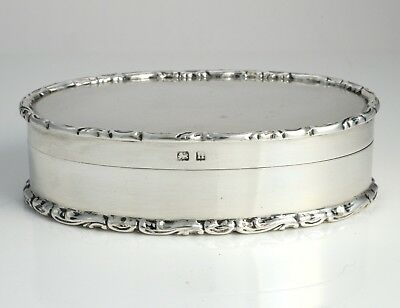 ANTIQUE GEORGE V SILVER OVAL GILT LINED BOX HALLMARKED BIRMINGHAM 1912 60.7g