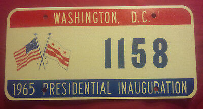 1965 District Of Columbia 1158 Inaugural Inauguration License Plate