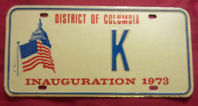 1973 District Of Columbia K Inaugural Inauguration License Plate