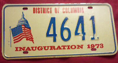 1973 District Of Columbia 4641 Inaugural Inauguration License Plate