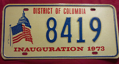 1973 District Of Columbia 8419 Inaugural Inauguration License Plate