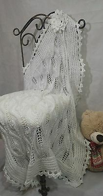 Hand Knitted Baby Blanket Lace Shawl Christening Baptism Newborn BabyGift