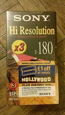 Sony Hi Resolution E180 Blank VHS Videos * 3 Pack New & Sealed *
