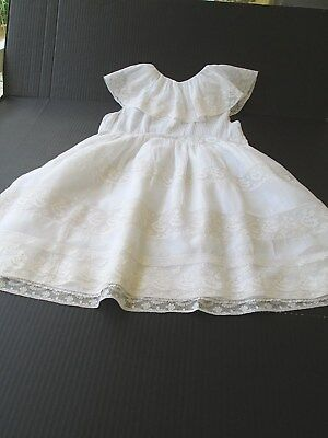 "Antique Fine White Lawn & French Bobbin Lace Child Dress ""marcelle Julien Ny"""