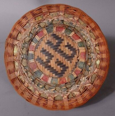 American Round Lidded Basket Box w/ Polychrome Decoration & Gold Color Plaques