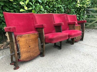 1930s art deco The Paris cinema theatre seat chairs french cast iron red velvet