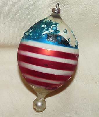 Antique~Vtg~GERMAN XMAS PATRIOTIC ORNAMENT~1920s~Star & Stripes~Bottom Ball~4""