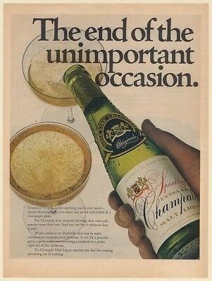 1969 Champale Malt Liquor The End of the Unimportant Occasion Print Ad