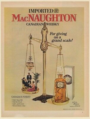 1968 MacNaughton Canadian Whisky For Giving on a Grand Scale Print Ad