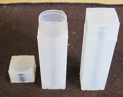 FIVE (5) Square Coin Storage Tubes - Dime (each tube holds 50 coins)
