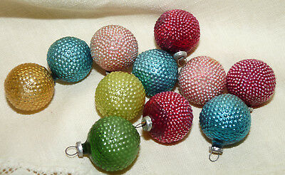 "Antique~Vtg~PRE-WW2~Set of 11~BUMPY~FEATHER TREE~Xmas Glass Ornaments~1""~1920/30"