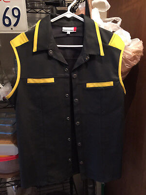 Nasty Pig Rubber Yellow Stripe Muscle Shirt Top  Size Large