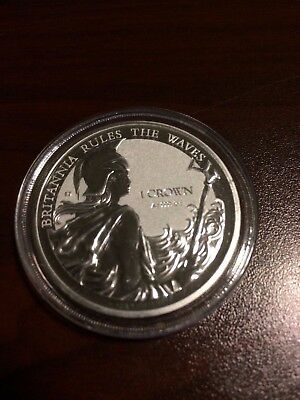 2017 Britannia Rules The Waves Falkland Island 1 Ounce Reverse Proof Silver Coin