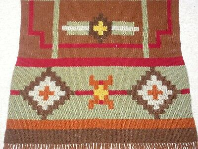 Vtg Throw Rug Southwestern Hand Woven Made Wool Tapestry Runner Navajo ??