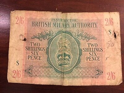 British Military Authority Two Shillings Six Pence Banknote - 1943 S