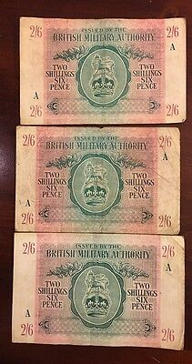British Armed Forces Two Shillings Six Pence Banknote - 1943 X 3 - A