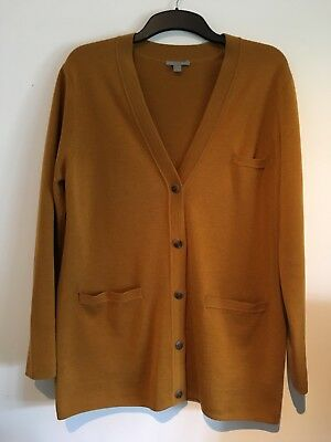 COS Mustard 100% Merino wool  long  Cardigan  Ladies size M 12/14