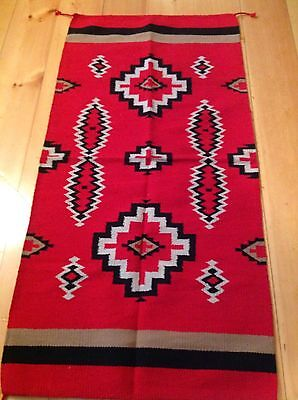 Navajo Design, SouthWestern, Acrylic Rug or Wall Hanging 32 x 64  Red