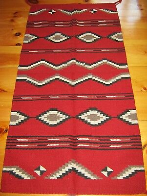 Navajo Design, Southwestern Rug or Wall Hanging 32 x 64 Red, White, and Black